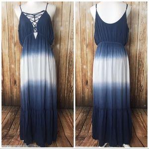 New ombré blue maxi dress lace up top Loveriche